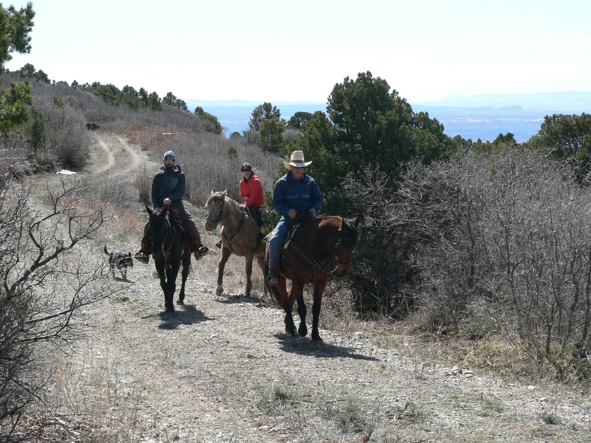 Horseback rides on easy trail.